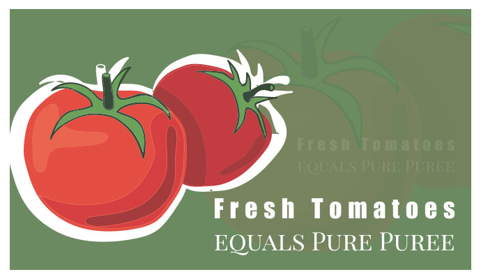 Fresh Tomatoes equals Pure Puree